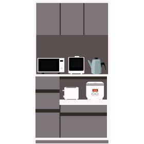 食器棚のイラストと家電 インテリア キッチン 食卓 棚 ベクター