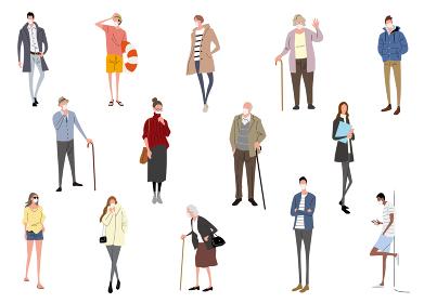 イラスト素材:マスク姿の人々