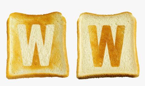 食パンに焼印風のアルファベットの大文字のW