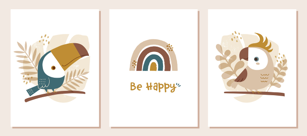 トロピカルな鳥と虹の子供部屋用アートセット