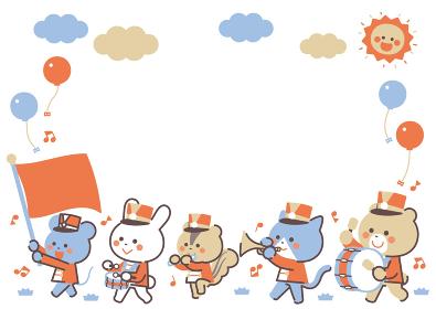動物のマーチングバンド 行進 キャラクターフレーム 4色シンプルカラー