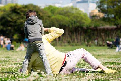 芝生でピクニックを楽しむ家族
