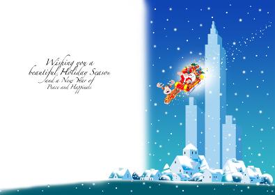 クリスマスカード 雪降る街