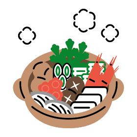 鍋料理 シンプル・ペン画風イラスト