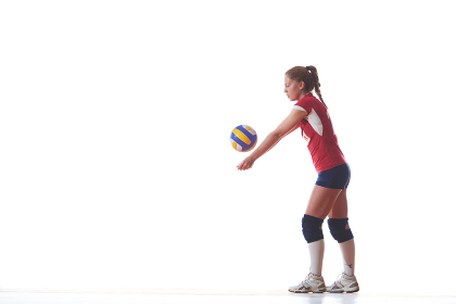 volleyball woman isolated on white background