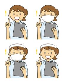 白衣姿の若い女性 マスク フェイスシールド セット イラスト