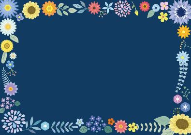 フラワーフレーム 紺色(横)
