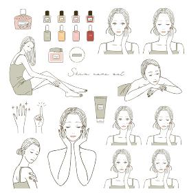 ビューティー スキンケアする女性のイラストレーションセット