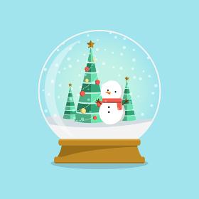 スノードーム 雪だるまとクリスマスツリー