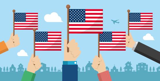 手持ち国旗 バナーイラスト ( 愛国心・イベント・お祝い ・デモ) / アメリカ・USA