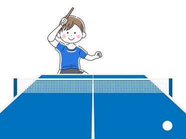 卓球をする男性のイラスト