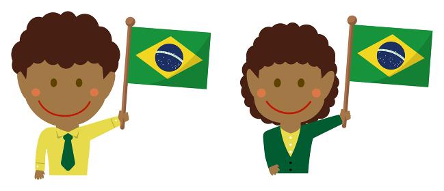 人種と国旗 / ビジネスマン・会社員 男女 上半身イラスト/ ブラジル