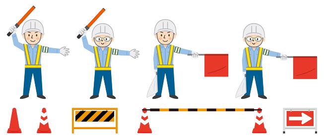 交通誘導をする男性警備員と工事現場の道具のセット