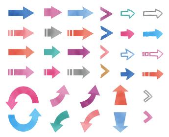 シンプルな矢印のアイコンイラストセット