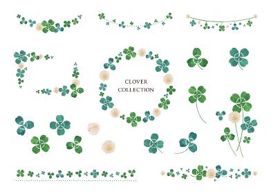 クローバー 水彩素材 フレーム、装飾 デザインセット