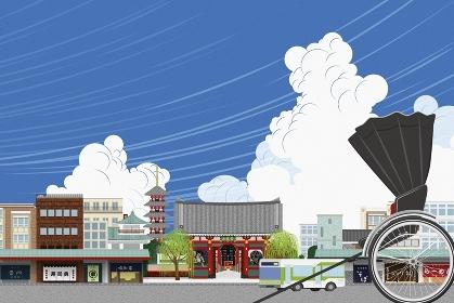 浅草の街並みと人力車 イラスト