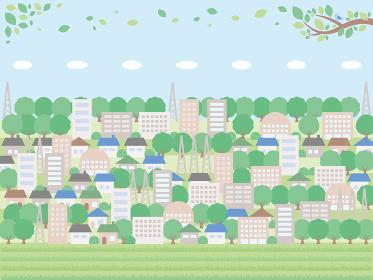 シンプルな初夏の街並みの背景イラスト たくさん建物と木があるバージョン