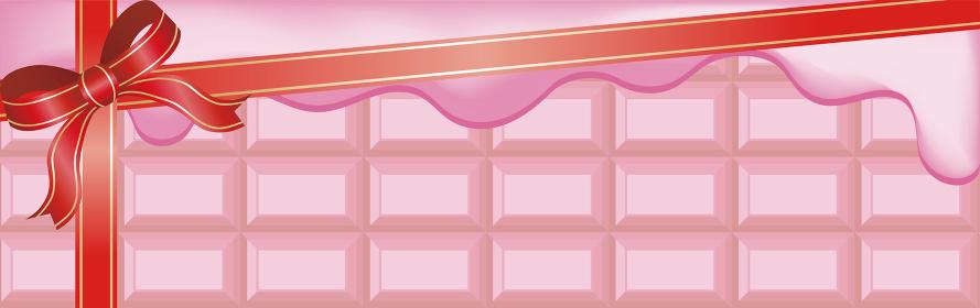 バレンタインデー バナー ルビーチョコレート リボン コピースペース 背景 イラスト素材