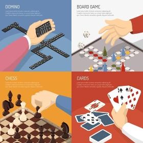 Board Games Design Concept . Four square colored board games design concept set with domino chess cards descriptions vector illustration