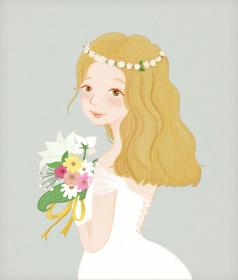 花嫁とお花の水彩画風のイラスト
