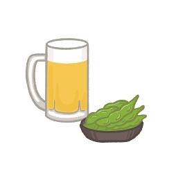 ビールジョッキと枝豆のイラスト