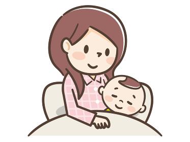 赤ちゃんと添い寝する母親