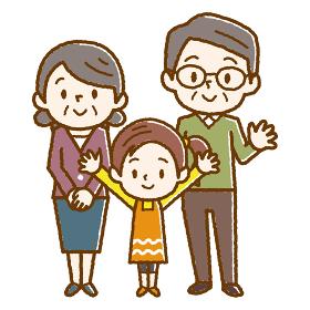 幸せシニア夫婦と孫 手描き風