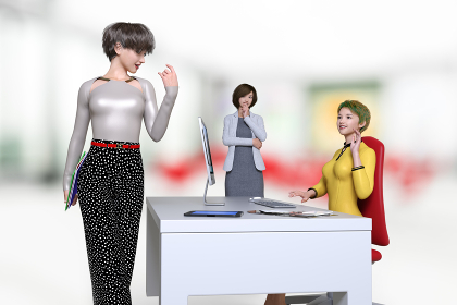 おしゃれでショートヘアの女性社員が3人いるオフィス