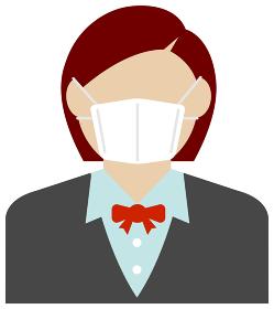 マスクを着けたOL・女性会社員 (上半身) / カラーイラストアイコン