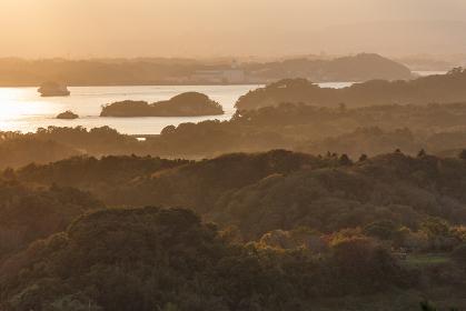 日本三景・松島、大高森展望台からの夕景