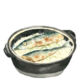 土鍋秋刀魚ごはん サンマ 新米 秋の味覚 料理 白背景【水彩】