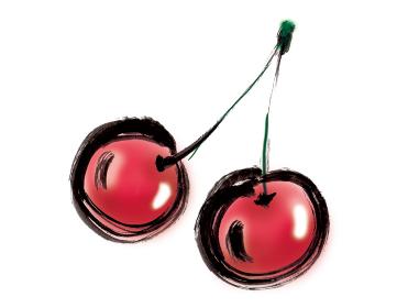 手描きイラスト素材 果物 さくらんぼ, さくらんぼう, 桜ん坊 チェリー