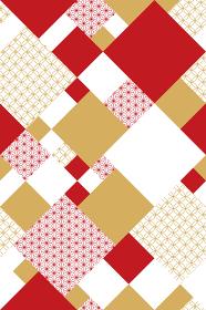 和文様×ジオメトリックパターン(赤)/シームレス