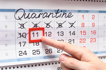 Hand indicates Tuesday of the next week after quarantine