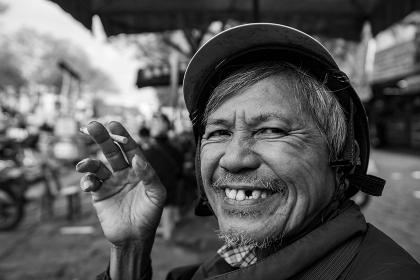 Old smoking Man from Vietnam