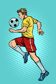 Retro football player with a soccer ball