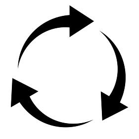 3つの矢印によるアイコン 円形の回転