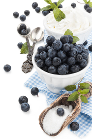 Fresh blueberries on table.