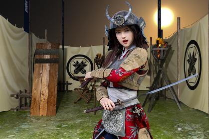 戦で本拠地に乗り込む敵を迎撃する女武者が体の前で刀を握った腕を交差し相手を睨む