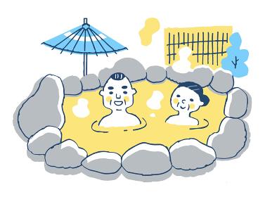 温泉に浸かるシニア夫婦