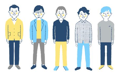 男性5人 全身