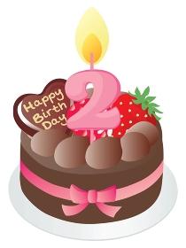 お誕生日のチョコレートケーキと2歳の数字のキャンドル