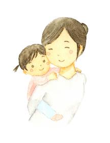 子どもをおんぶするおかあさんの水彩イラスト