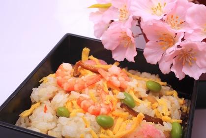 お重箱に入れたチラシ寿司と桜
