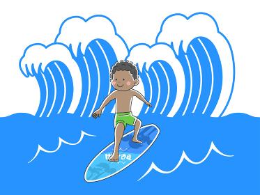 海でサーフィンをする男性のイラスト