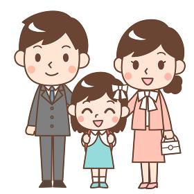入学式の親子 娘と両親