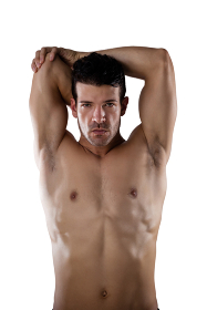 Portrait of determind shirtless sports person stretching hands