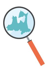 虫眼鏡ルーペ拡大鏡と青森県の詳細地図東北地方|都道府県別地図のイラスト ベクターデータ