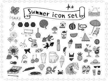夏の手描きアイコンセット モノクロ