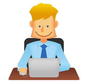 外人・西洋人 若い男性サラリーマン・ビジネスマン 上半身イラスト (デスクワーク・パソコン)